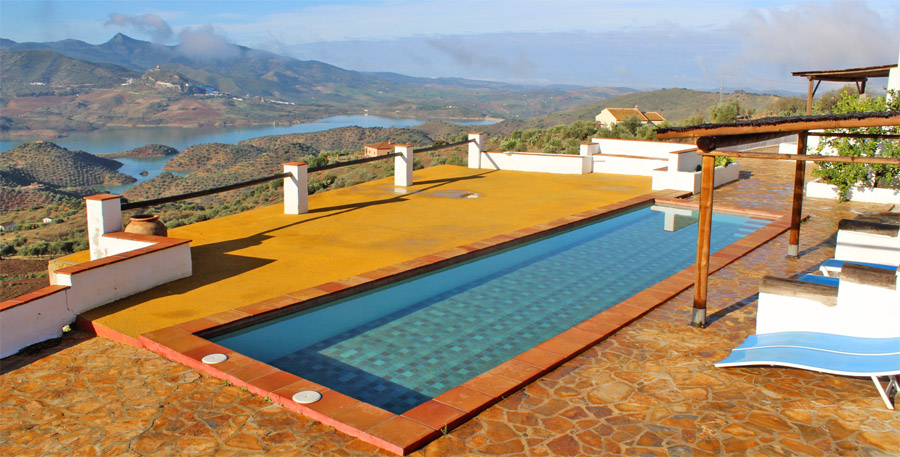 The swimming pool of a private villa in Southern Spain