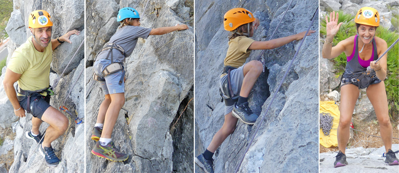 A family rock climbing in Southern Spain