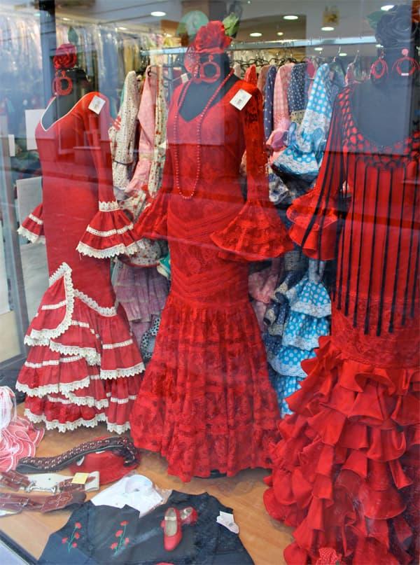 flamenco dresses in a Jerez shop