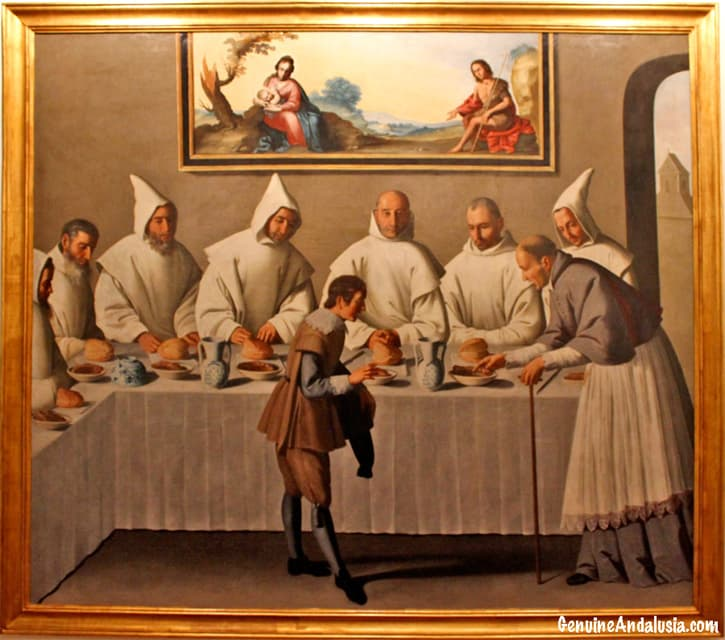 Carthusian monks painted by Zurbaran in the Monastery of la Cartuja. Seville.