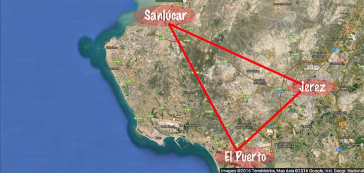 Map of the Sherry Triangle, Southern Spain