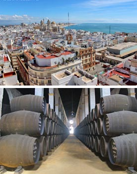 Sherry bodegas in Jerez and Cadiz day trip. Culture and lifestyle tours of Andalusia