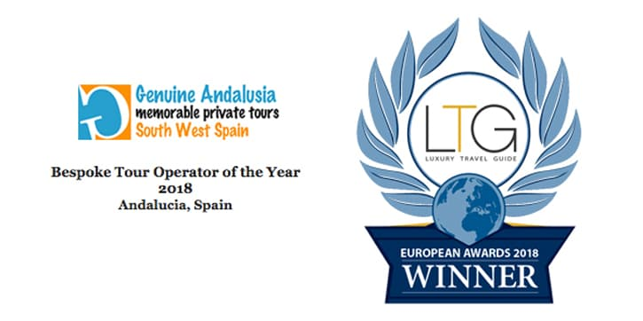 Logo of winner bespoke tour operator of the year for Andalucia. The Luxury Travel Guide