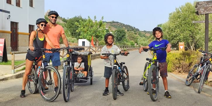 Family tours in Southern Spain. A family cycling in Andalusia
