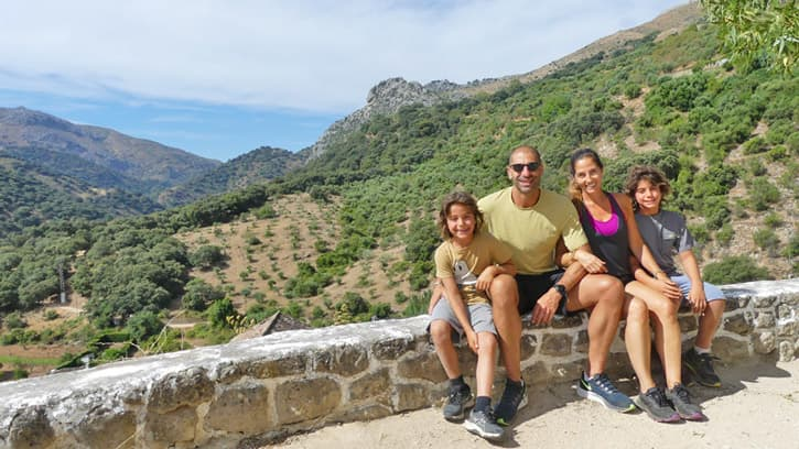 A family touring in Southern Spain.