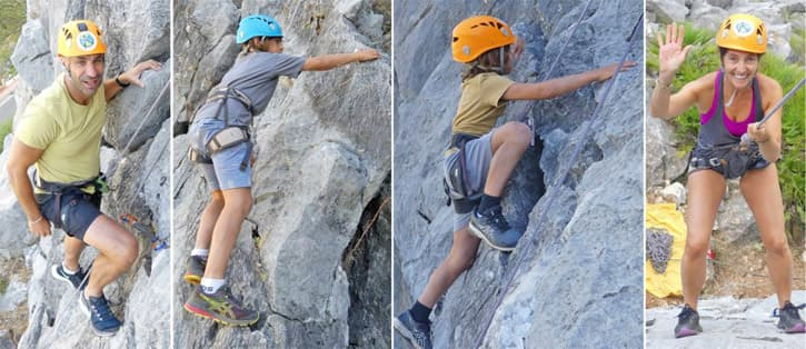 A family taking a nature tour in Southern Spain. Rock climbing