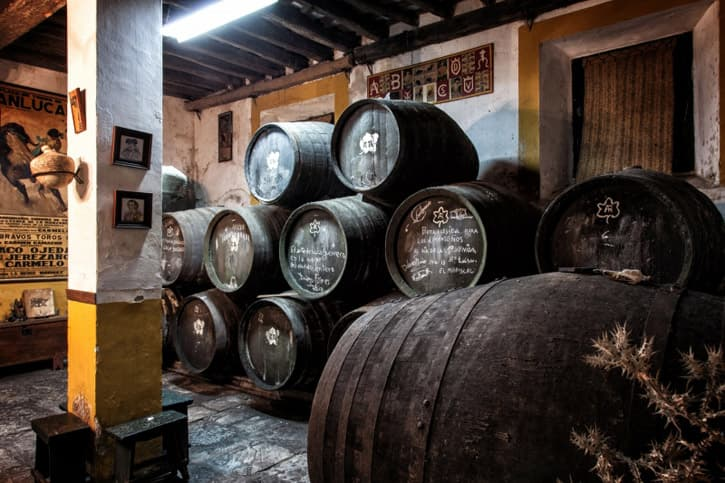 Sherry casks in a small sherry bodega in the sherry triangle