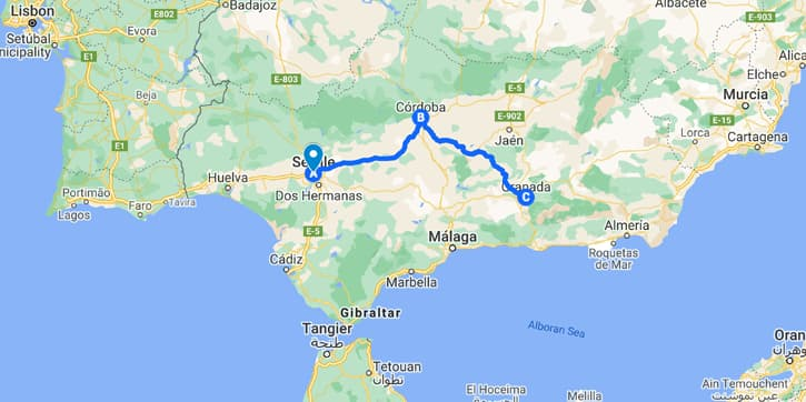 Map with a 4-day Andalusia travel itinerary