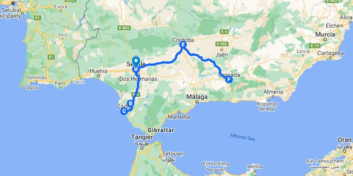 Map of Southern Spain with a 5-day Andalusia travel itinerary