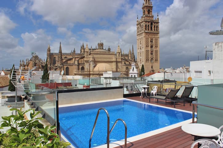 Seville hotel with a pool on the rooftop