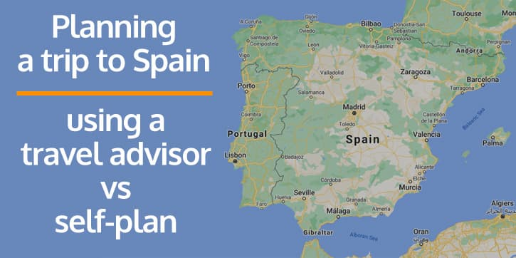"""A map of Spain with text on it reading """"planning a trip to Spain"""""""