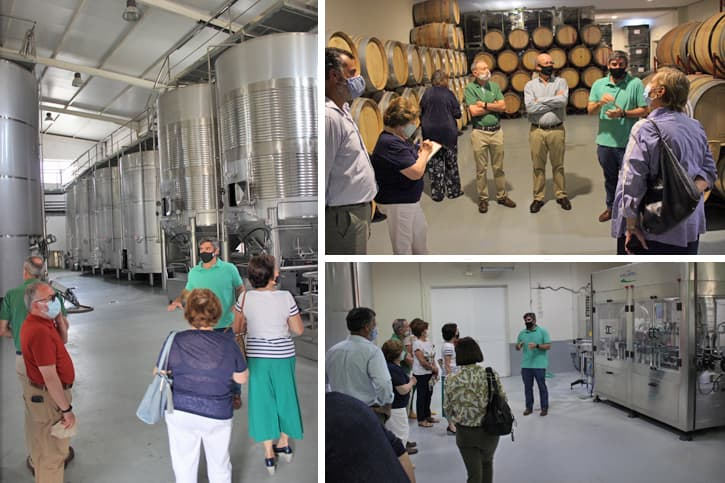 a group of people visiting the premises of Bodega Miguel Domecq