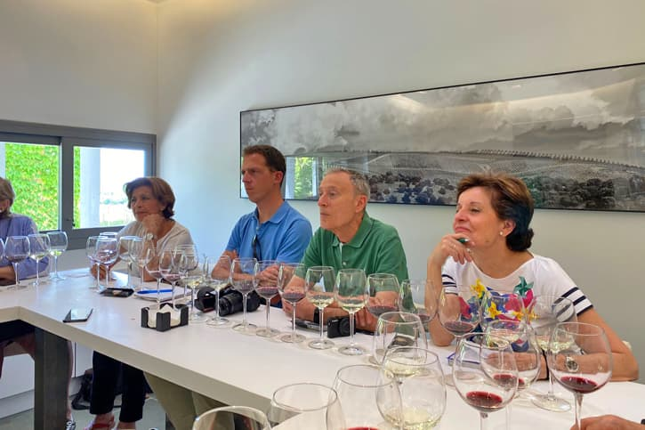 a group of people doing a wine tasting at Bodega Miguel Domecq in Southern Spain