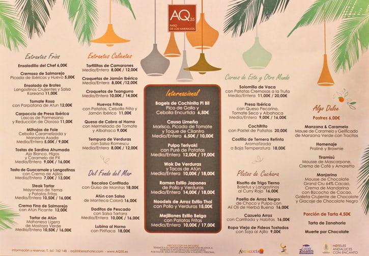 The menu of Jerez restaurant AQ