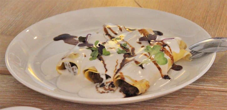 A plate of cannelloni at restaurante el Embarcadero in Rota, Spain
