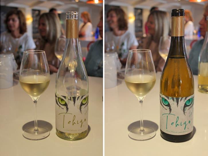 Two bottles of Tehigo white wine. One dry and one semiweet